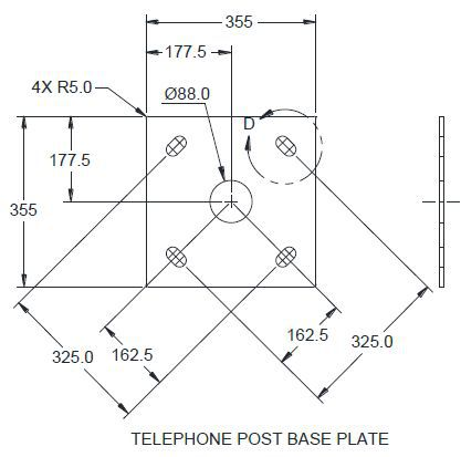 Telephone Mounting Post Painted Grey Diagram